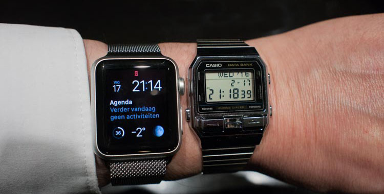Apple watch and a 1988 Casio Databank Phone Dialer